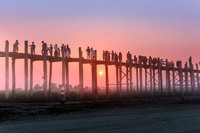 Sunset on the U-Bein Bridge, Mandalay, Myanmar