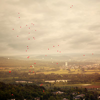 "Germany, balloons, clouds, ""from Burg Gleiberg"", sky, sunset, wedding"