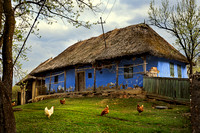 Traditional Blue House in Szék, Transylvania