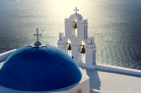 Three Bells of Fira and Blue Dome, Santorini, Greece