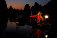 Cormorant Fisherman at Sundown, Yangshuo, China