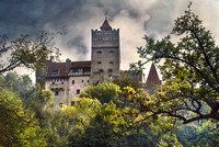 "Architecture, Bran, ""Bran Castle"", Building, Castle, Century, Circa, Cloud, Day, ""Travel Destinations"", ""Dracula's Castle"", ""Bulding Exterior"", Forest, History, Horizontal, Image, Medieval, Mist, ""No"