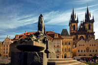 Jan Hus Memorial & Church of Our Lady before Týn in Old Town Square