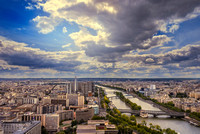 "Paris-France, Skyline, Roof, ""Aerial View"", City, ""View from the Eiffel Tower"", Scenics, France, Sunlight, Cityscape, Sky, Sun, ""Elevated View"", ""River Seine"", Town, Europe, Tourism, River, Architectu"
